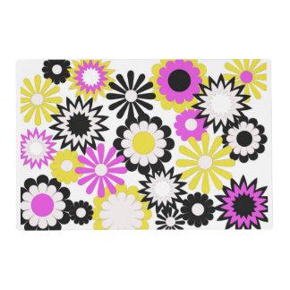 Placemat de papel, floral, rosado, amarillo, tapete individual