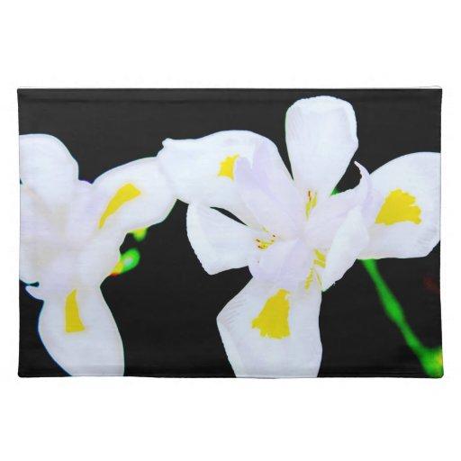 placemat del diseño, iris blanco salvaje manteles individuales