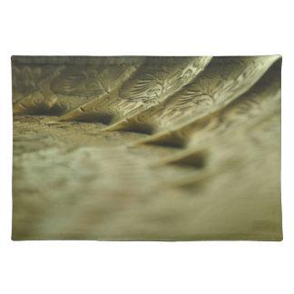 Placemat derecho de cobre amarillo grabado mantel individual