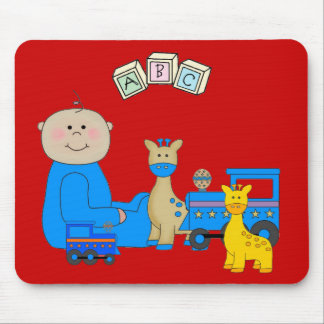 Placemat For Baby Boys, Baby And Toys Red 3 Mouse Pad