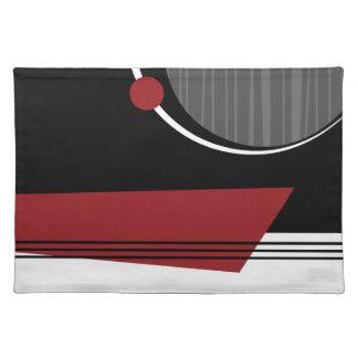 Placemat geométrico blanco y negro rojo manteles