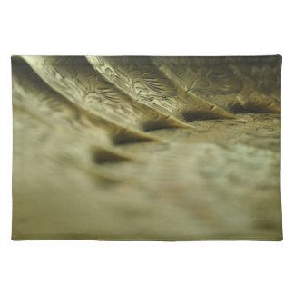 Placemat izquierdo de cobre amarillo grabado manteles individuales