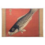 Placemat japonés de los pescados del vintage manteles individuales