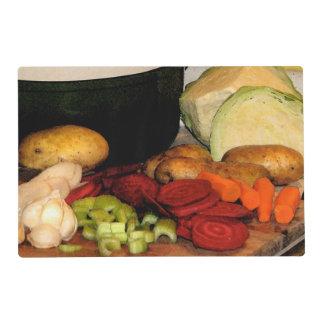Placemat laminado sopa de verduras tapete individual