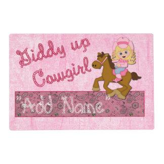 Placemat laminado vaquera occidental rosada salvamanteles