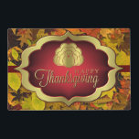 """Placemat - Laminated - Autumnal Happy Thanksgiving<br><div class=""""desc"""">A blanket of colorful autumn leaves in vibrant reds, oranges, golds and browns provide the back drop for this delightful Thanksgiving design. The leaves are topped by a &quot;Happy Thanksgiving&quot; in striking &quot;gold&quot; and gradient deep red making this the perfect choice for your Thanksgiving dinner. Wipe them clean, they can...</div>"""