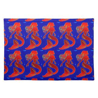 placemat modelo rojo de las sirenas del estilo manteles individuales