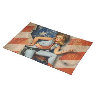 Placemat modelo travieso patriótico americano de l mantel