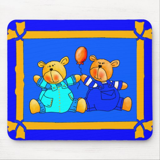 Placemat Mousepad Kids Balloon Blue Bears Mousepad