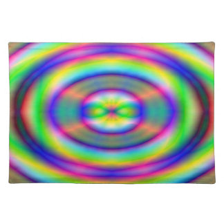 Placemat - Multi-coloured neon luminous circles Cloth Placemat