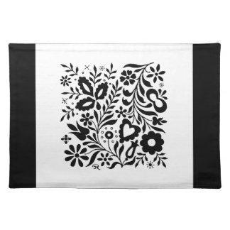 Placemat negro y blanco floral elegante manteles individuales