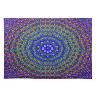 Placemat - Oval kaleidoscope. Blues / Reds
