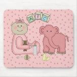 Placemat para la niña, elefante rosado tapetes de ratón