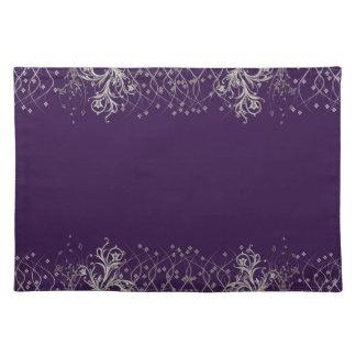 Placemat púrpura/de plata elegante mantel