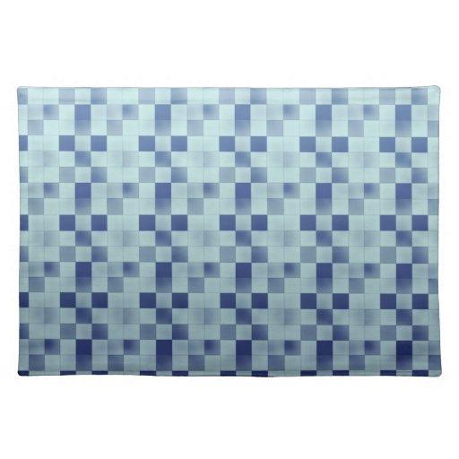 Placemat retro elegante fresco del azul del remien manteles individuales