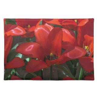 Placemat rojo de la flor manteles