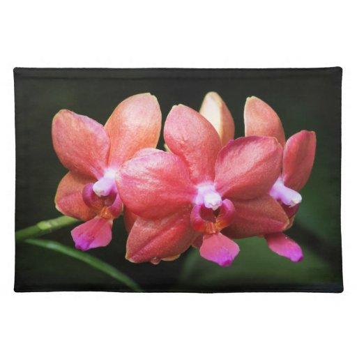 Placemat rojo de las orquídeas manteles individuales
