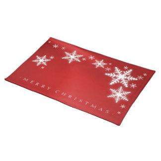 Placemat rojo del navidad de los copos de nieve manteles individuales