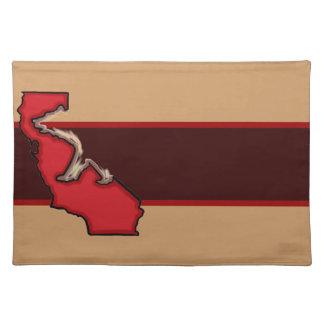 Placemat rojo marrón del símbolo del oso del estad manteles individuales