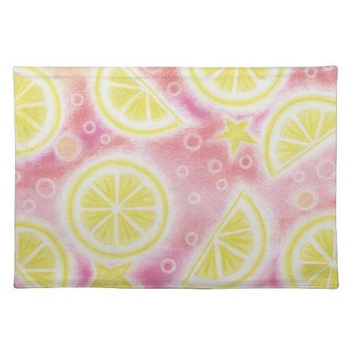 """Placemat rosado de los """"limones"""" de la limonada mantel individual"""
