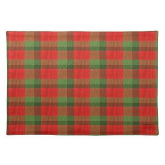 placemat verde rojo de la guinga del navidad manteles