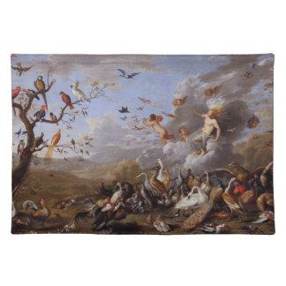 PLACEMAT-Vintage Birds and Cherubs