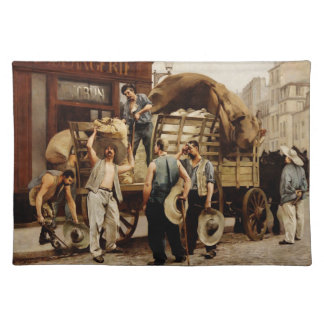 PLACEMAT-Vintage men and wagon