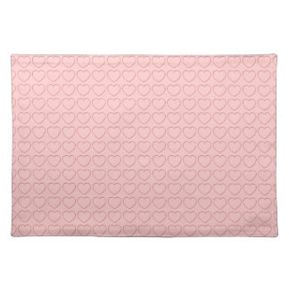 Placemat - Wire Framed Hearts on Pink Cloth Placemat