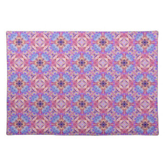 Placemat with a Blue and Rose Pink Pattern Cloth Place Mat