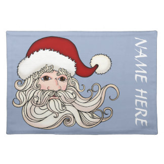 Placemat with Santa Head And room For Your Name Cloth Place Mat