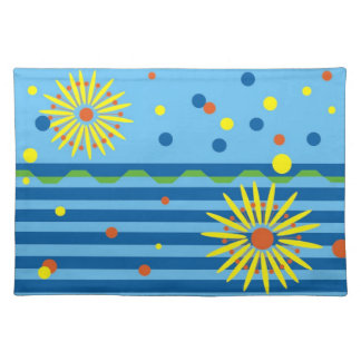 Placemat with Stylized Flower Design