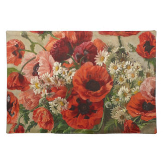 Placemat with vintage flowers, poppies