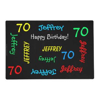 Placemats, 70.o cumpleaños, repitiendo nombres salvamanteles