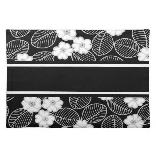 Placemats Damask Floral Gray Black White Placemats