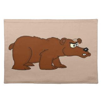 Placemats enojados del diseño del oso marrón manteles individuales