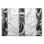 Placemats Swirl Floral Gray Black White