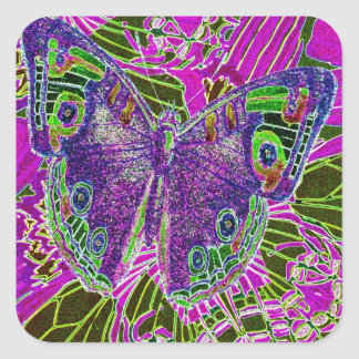 Placer de la mariposa pegatina cuadrada