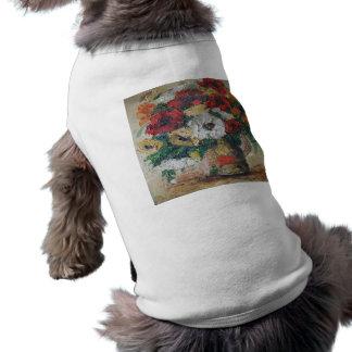 Placer de la mezcla de la flor de la pintura de playera sin mangas para perro