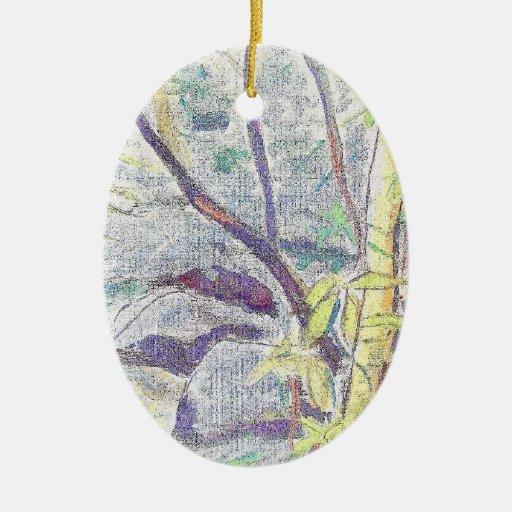 Placer de la selva tropical adorno navideño ovalado de cerámica