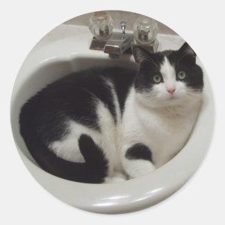 Placer de los amantes del gato pegatina redonda