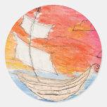Placer de los marineros etiqueta redonda