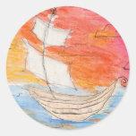 Placer de los marineros pegatina redonda
