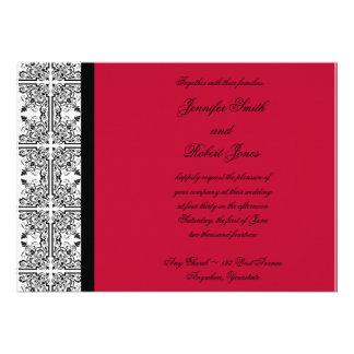 Placer del damasco en la invitación del rojo del e