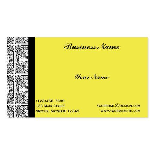 Placer del damasco en tarjeta de visita amarilla