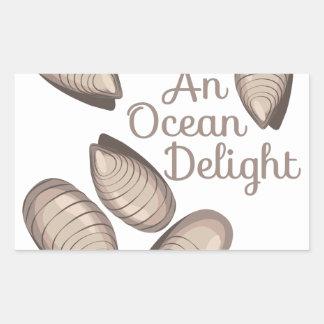 Placer del océano pegatina rectangular