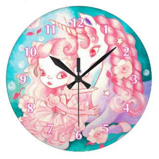 Placer del unicornio reloj redondo grande