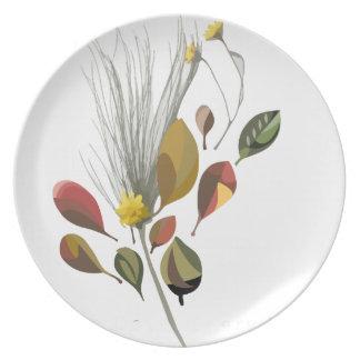 Placer descendente de las hojas platos para fiestas