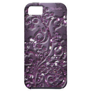 Placer púrpura de los amantes personalizado funda para iPhone 5 tough