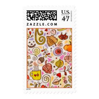 Placeres del otoño timbre postal