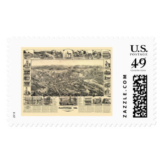 Placerville, CA Panoramic Map - 1888 Postage Stamp